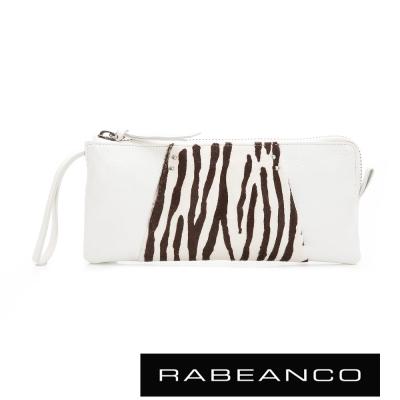 RABEANCO-率性牛皮動物豹紋設計手拿包-白