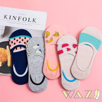 Wazi-點點水果條紋防滑船襪隱形襪 (1組五入)