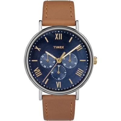 TIMEX 風格系列 羅馬字三眼多功能手錶-藍x駝/41mm