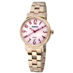 Audrey 歐德利 氣質出眾 時尚珍珠貝女錶(AUGM5652)-粉x玫瑰金/33mm