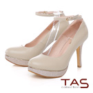 TAS 兩穿式亮粉拼接金屬邊條踝繫帶高跟鞋-氣質膚