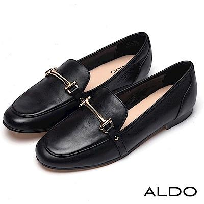 ALDO 原色真皮一字金屬環釦帶粗跟樂福鞋~尊爵黑色