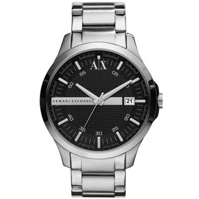 A|X Armani Exchange 城市旅人格紋紳士腕錶-銀黑47mm