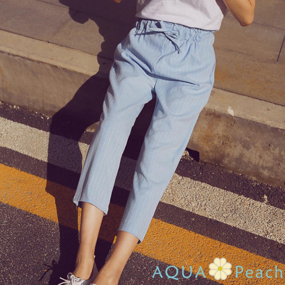 多色鬆緊條紋直筒西裝褲(共三色)-AQUA Peach