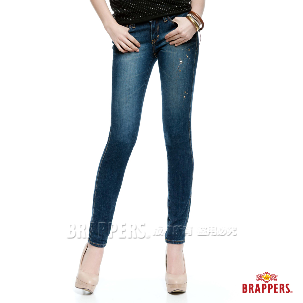 BRAPPERS 女款 新美腳Royal系列 女用彈性鑲鑽AB褲-藍