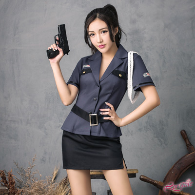 角色扮演 藍色系帥氣女警角色扮演服三件組(藍F) Lorraine