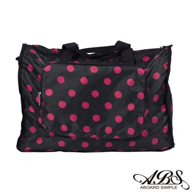 ABS愛貝斯 日本防水摺疊旅行袋 可加掛上拉桿(黑底桃點)66-001D1