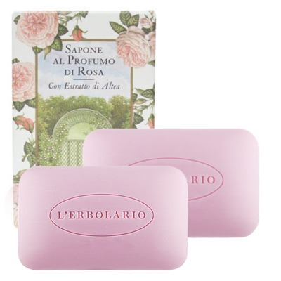 L-ERBOLARIO 蕾莉歐 玫瑰植物香氛皂(100g)X2入