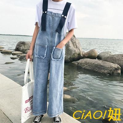 寬織帶大口袋牛仔吊帶褲 (藍色)-CIAO妞