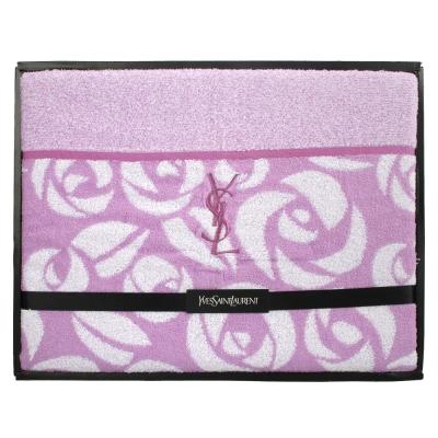 YSL 刺繡LOGO玫瑰圖紋純綿蓋被-紫紅色