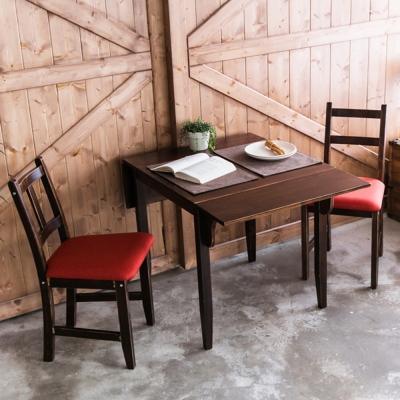 CiS自然行-雙邊延伸實木餐桌椅組一桌二椅74x122公分焦糖+橘紅椅墊