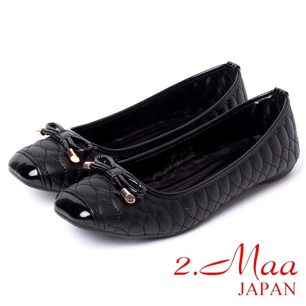 2.Maa法式經典-方頭菱格紋蝴蝶娃娃鞋-氣質黑