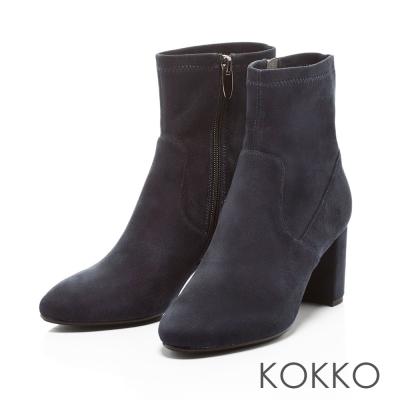 KOKKO- 時髦顯瘦彈力拉鍊粗跟襪靴-堅尼藍