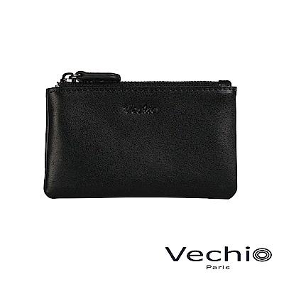 VECHIO-紳士商務款II-經典素面拉鍊零錢包-時尚黑