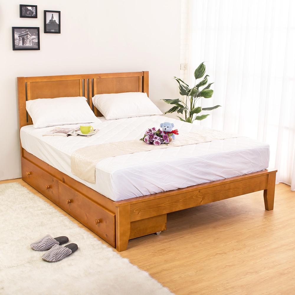 Bernice-蒂琪5尺實木雙人床架-抽屜型