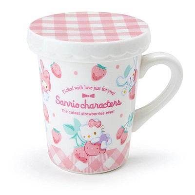 Sanrio SANRIO明星陶磁馬克杯附蓋(粉格草莓園)