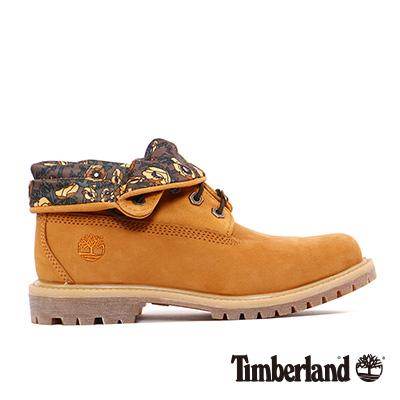 Timberland-女款小麥黃大理花麂皮翻領中筒