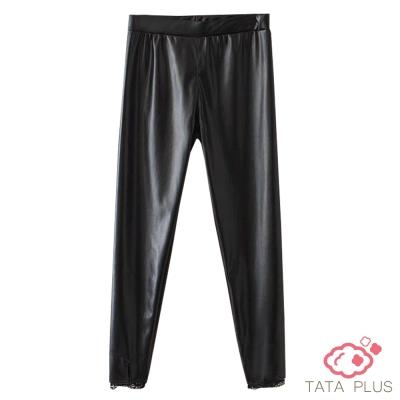 鬆緊腰拼接蕾絲邊合成皮褲 中大尺碼 TATA PLUS