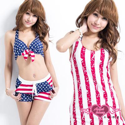 天使霓裳 美國星旗 四件式泳衣比基尼(藍紅M~XL)
