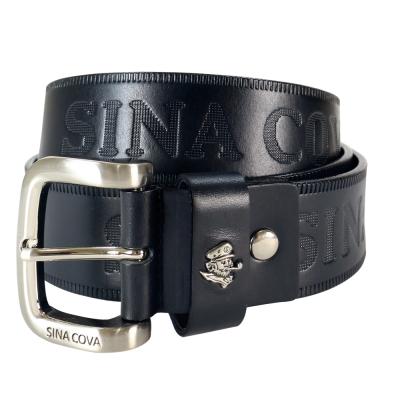 SINA COVA 老船長品牌經典壓紋牛皮休閒皮帶 SC2251-1黑
