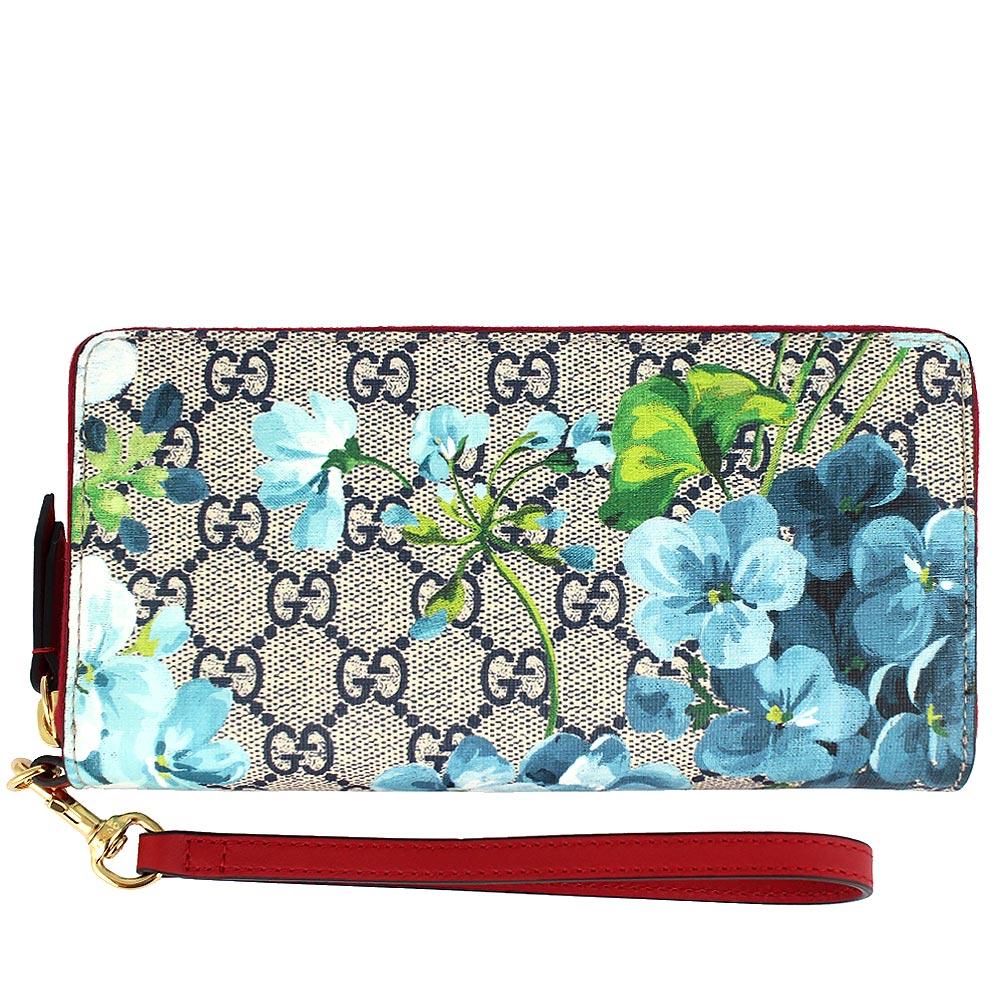 GUCCI BLOOMS 藍色花朵圖騰紅色邊提把拉鍊長夾(手機袋)