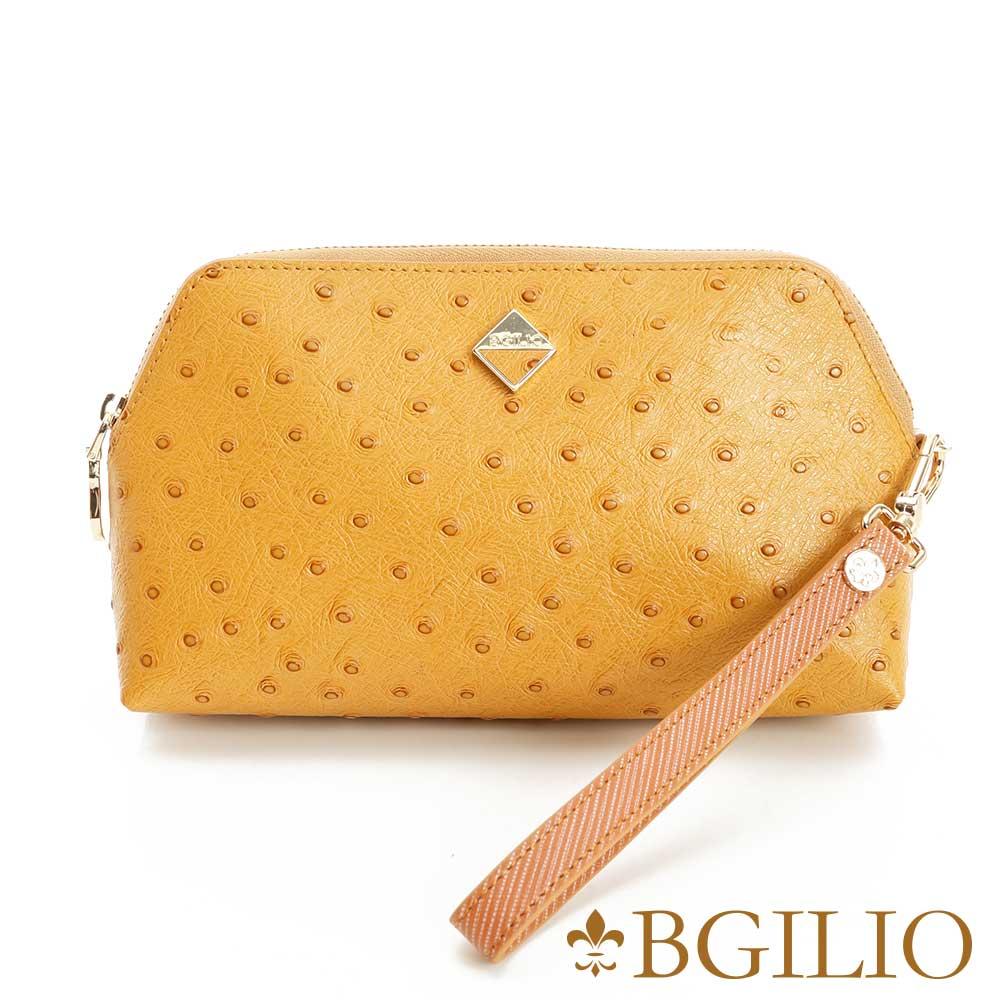義大利BGilio 時尚駝鳥紋牛皮化妝包(大)-駝色1963.307A-04