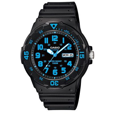 CASIO 潛水風DIVER LOOK指針錶(MRW- 200 H- 2 B)-黑/藍刻度/ 47 . 9 mm