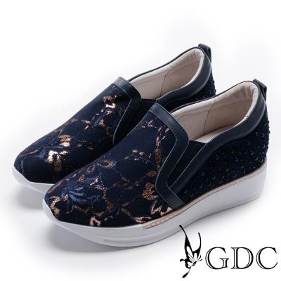 GDC-真皮時尚蕾絲異材拼接休閒鞋-藍色