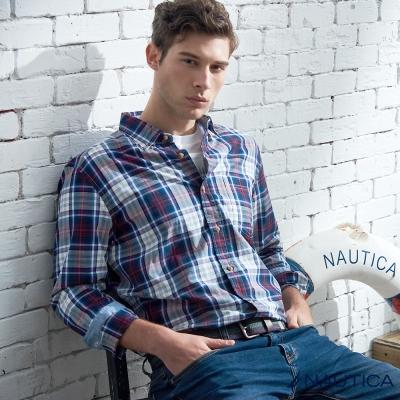 Nautica 經典休閒格紋長袖襯衫-紅藍