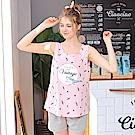 睡衣 粉紅鯊魚無袖兩件式睡衣(R77028-2粉紅鯊魚)台灣製造 蕾妮塔塔