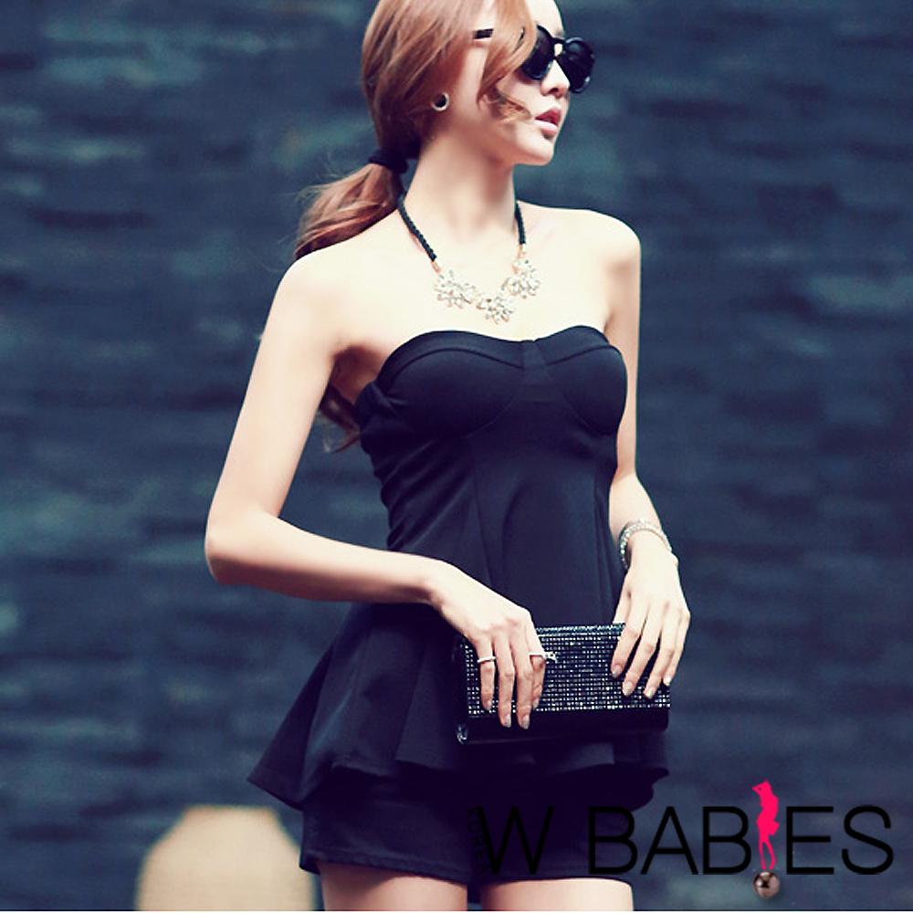 【W BABIES】美胸設計傘狀平口小可愛 (黑色)