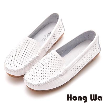 Hong Wa 沖孔造型休閒包鞋 - 白