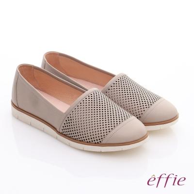 effie-都會休閒-蠟感牛皮鏤空樂福休閒鞋-卡其