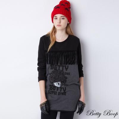 Betty Boop 配色流蘇縫圖口袋磨毛長版上衣(共二色)
