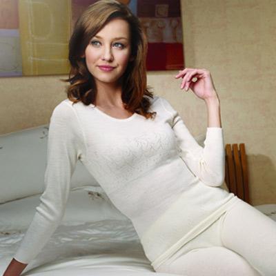 黛安芬-100-羊毛-束腰衛生衣-M-EL-白