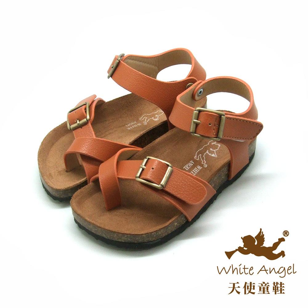 天使童鞋- 陽光羅馬氣墊夾腳親子拖鞋(中-大童)J856-棕