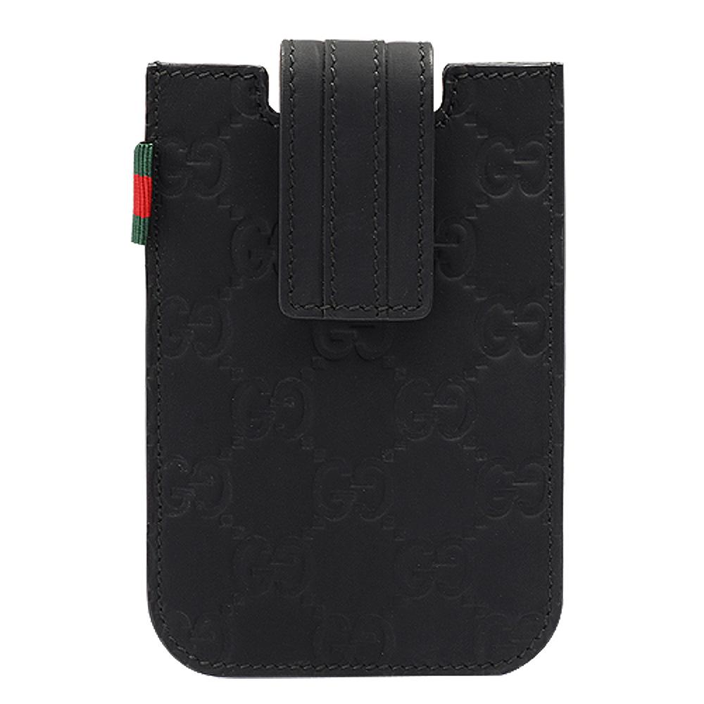 GUCCI Guccissima壓紋霧面牛皮IPHONE手機套(黑色)