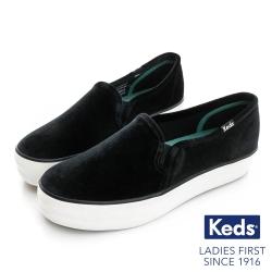 Keds TRIPLE DECKER 華麗氣質休閒便鞋-天鵝絨黑