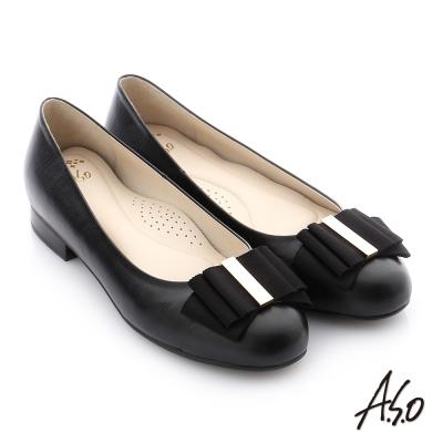 A.S.O 個性美型 全真皮蝴蝶結奈米低跟鞋 黑色