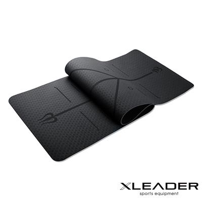 Leader X 環保TPE雙面防滑體位線瑜珈墊6mm 附收納繩 黑色 - 急