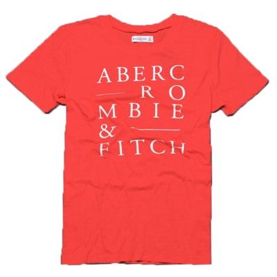 A&F Abercrombie & Fitch 品牌印花圓領短袖T恤-橘紅