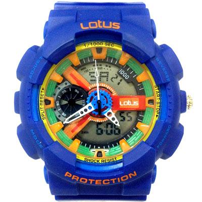 Lotus 街頭潮男 計時鬧鈴雙顯運動錶(LS-1026-03)-藍/52mm