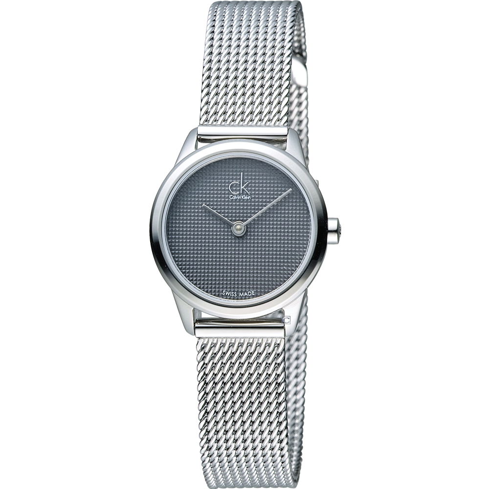 CK Calvin Klein Minimal 俐落米蘭時尚腕錶-灰/24mm