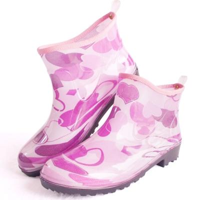 心花朵朵一體成型減壓短筒雨鞋