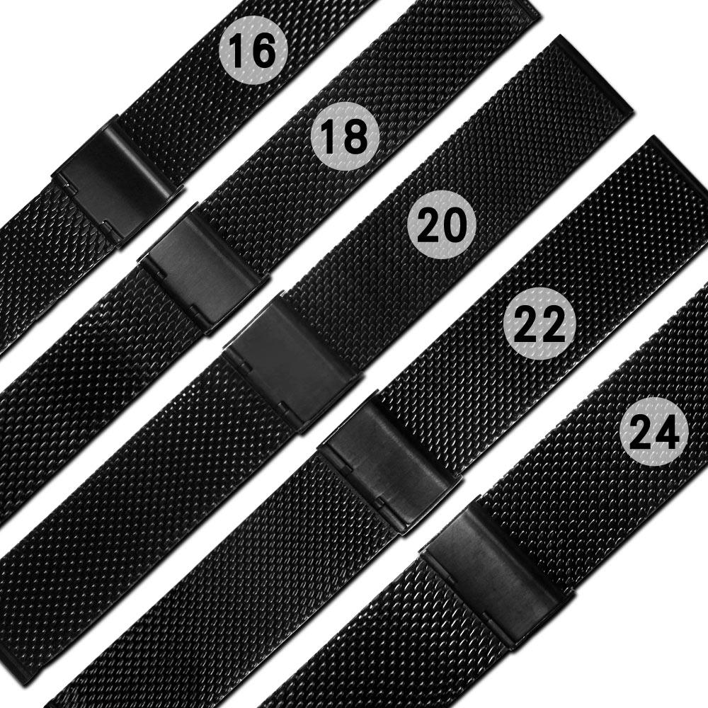 Watchband /各品牌通用時尚指標輕便透亮米蘭編織不鏽鋼錶帶-黑色