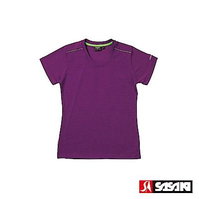 SASAKI 長效性吸濕排汗功能圓領短衫-女-深葡萄紫/豔綠
