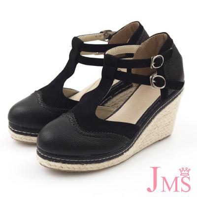 JMS-學院風異材質拼接素面雙扣楔型娃娃鞋-黑色