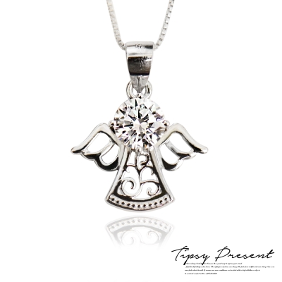 微醺.禮物 項鍊 925純銀 鋯石 守護天使 環保鍍白金 短鏈
