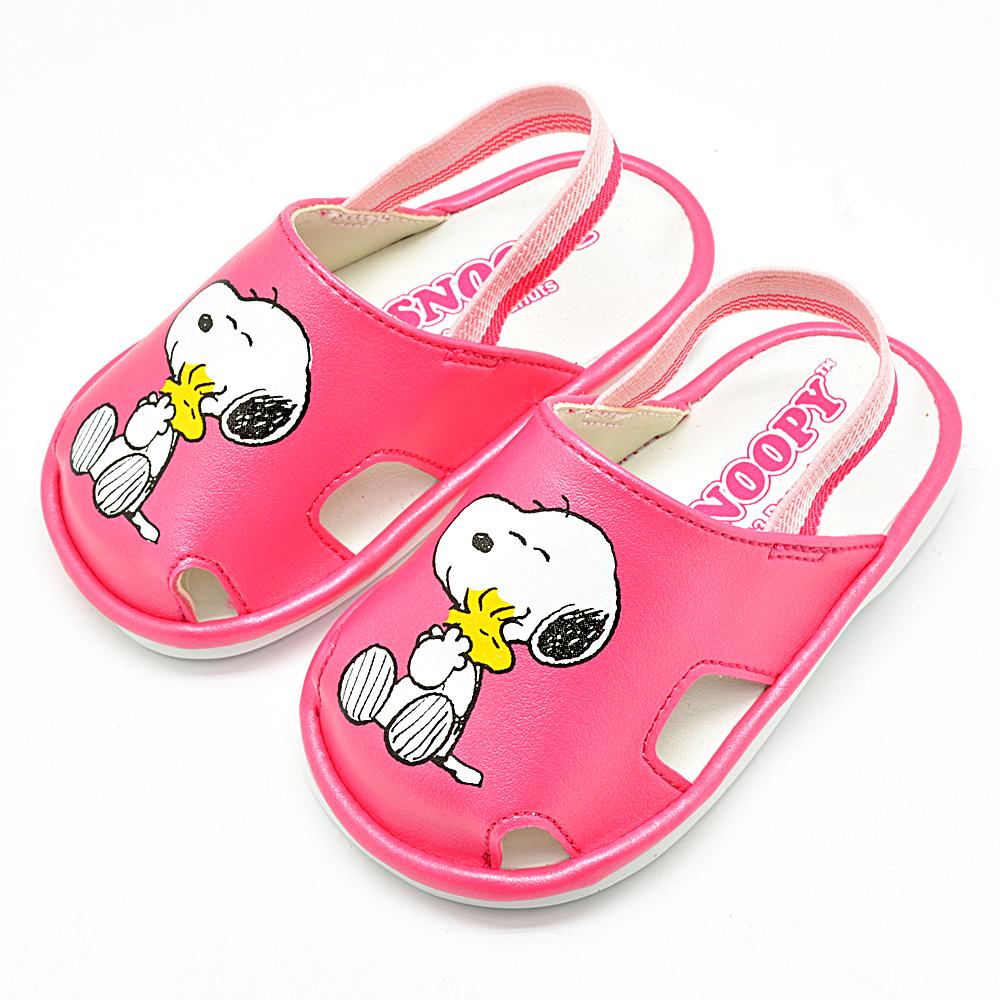 Snoopy史努比 防掉落後拉帶寶寶學步嗶嗶鞋-桃(12.5-15.0)