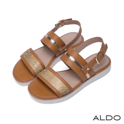 ALDO 原色寬版繫帶金屬飾扣厚底涼鞋~氣質駝色